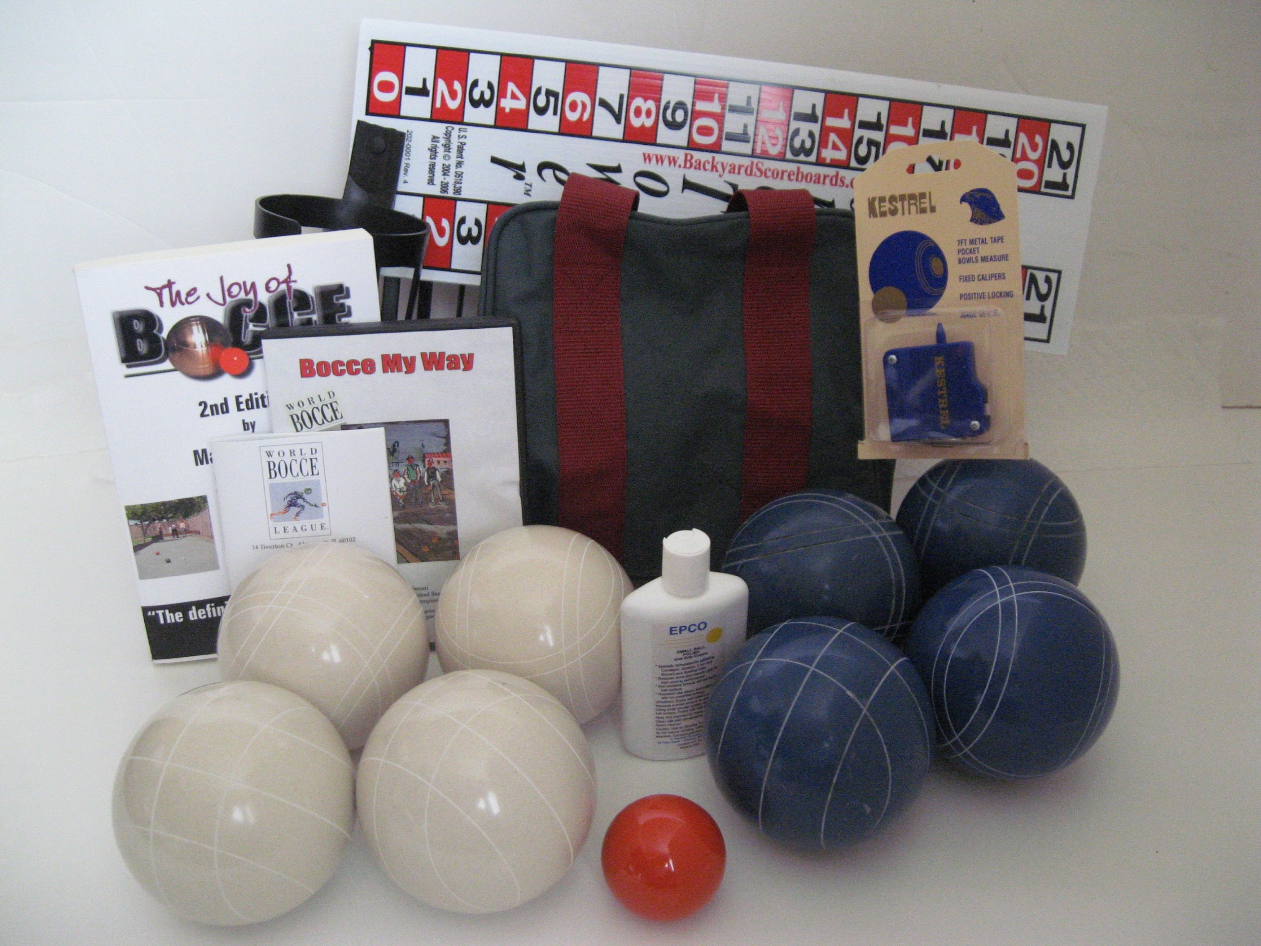 Everything Bocce Package - 110mm Epco White and Blue Balls, Score Tower, High...
