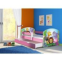 Clamaro 'Fantasia Pink' Kinderbett mit Rausfallschutz (38 Motive + Wunschname)