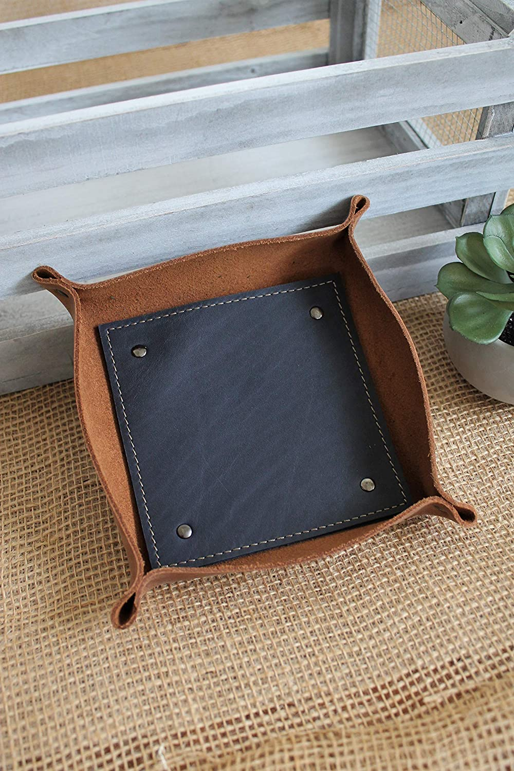 Monogrammed Small Saddle Brown Leather Valet Tray more colors