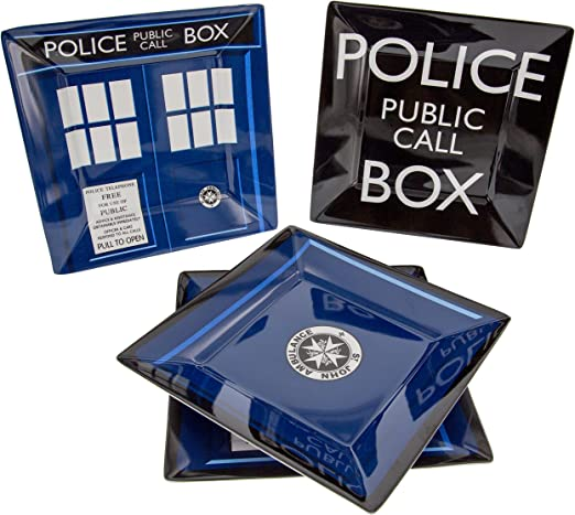 Doctor Who TARDIS Plate Set of 4 Durable Melamine Underground Toys DW01931 Dishwasher and Oven Safe