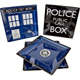Doctor Who TARDIS Plate Set of 4 - Dishwasher and Oven Safe - Durable Melamine