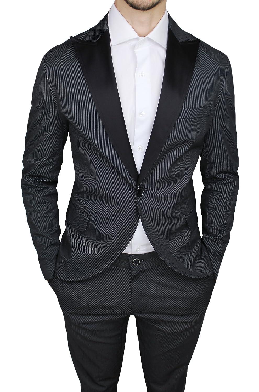 Abito completo uomo QBR sartoriale cotone raso nero rigato vestito smoking