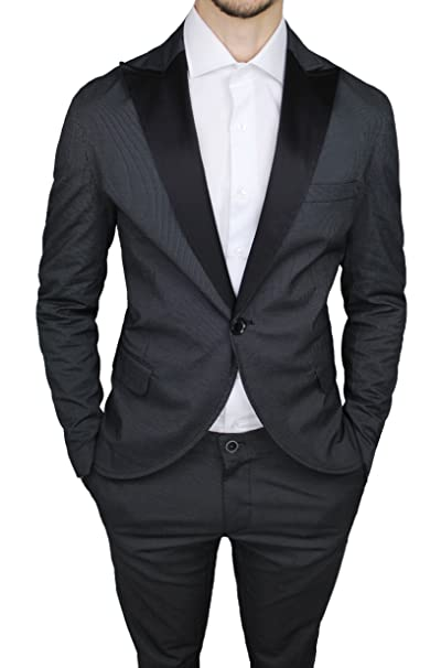Abito completo uomo QBR sartoriale cotone raso nero rigato vestito smoking   Amazon.it  Abbigliamento 5106223e7dd