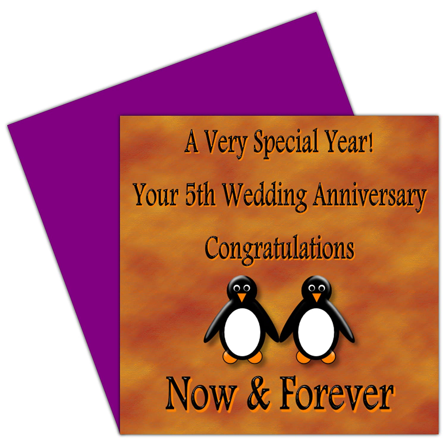 On your 5th wedding anniversary card 5 years wood anniversary on your 5th wedding anniversary card 5 years wood anniversary rosie posie penguin design for family friends amazon office products kristyandbryce Choice Image