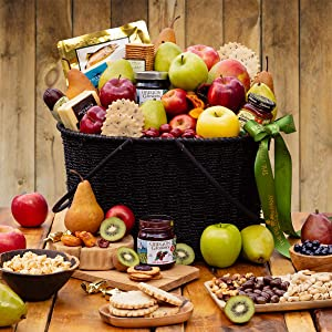 The Fruit Company Oregon's Cascade Fruit Basket - 28 Pieces Premium Fresh Fruit (Apples, Pears, Kiwi, Oranges) and 17 Different Gourmet Items Including Meat, Salmon, 2 cheeses, Sweet & Savory