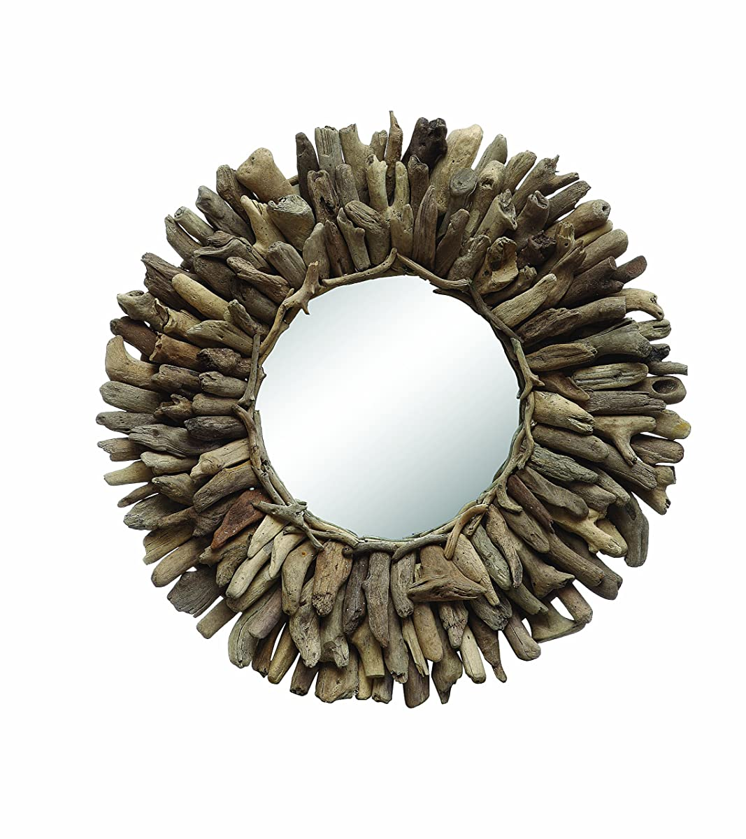 Creative Co-op Round Driftwood Framed Mirror