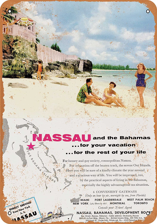 Amazon com wall color 10 x 14 metal sign 1954 nassau bahamas travel vintage look home kitchen