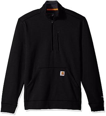 Carhartt Men's Force Extremes Mock-Neck Half-Zip Sweatshirt, Black, Small