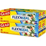 Glad FLEXN Seal Food Storage Plastic Bags - Gallon - 35 Count, Pack of 4 (140 Total Bags) (Package May Vary)