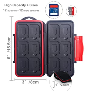 Skoloo SD Card Case, Waterproof Memory Card Holder, 12 SD Card Cases Storage + 12 Micro SD Card Holder for SDHC SDXC TF Card, 1 Pack Red (Color: red)