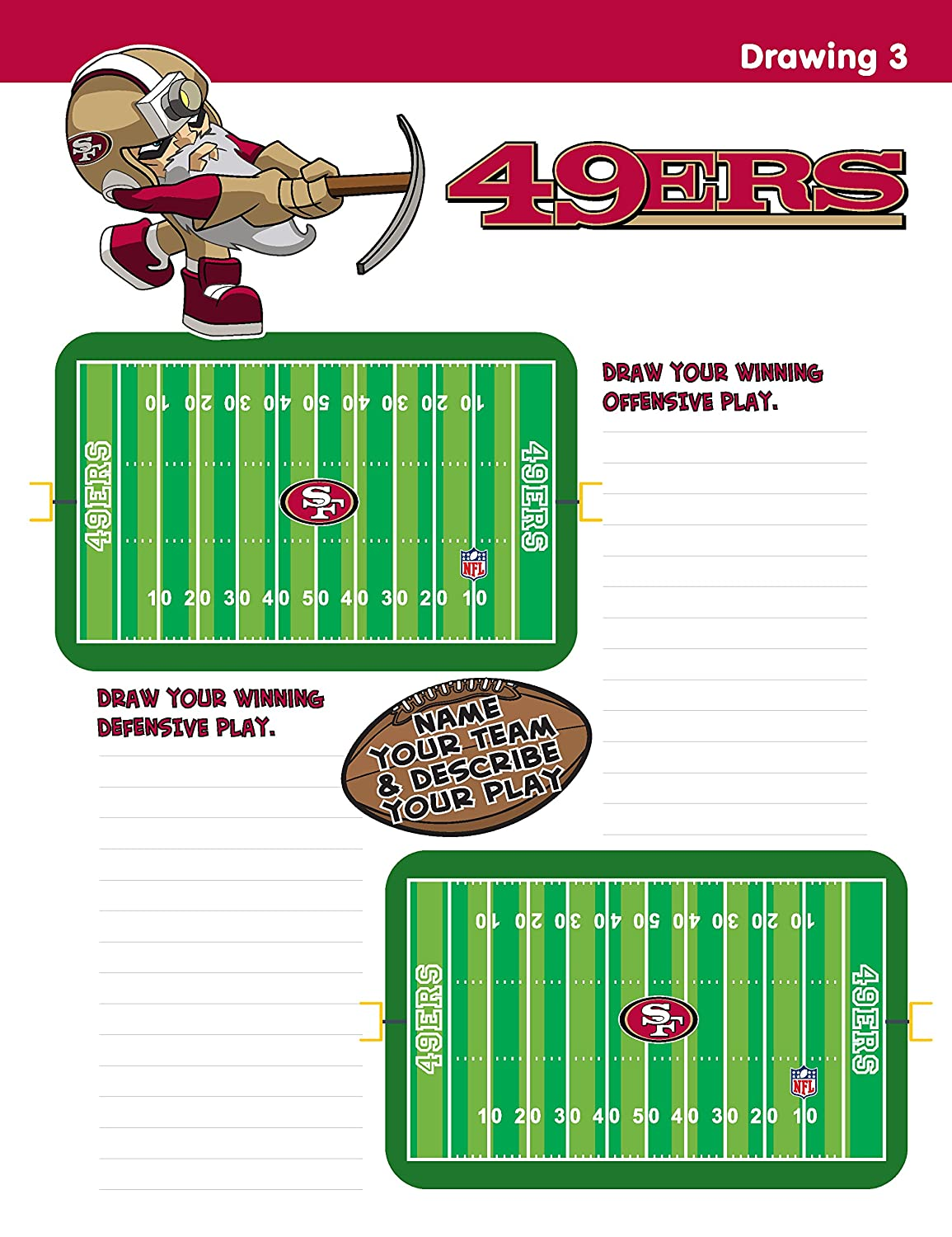 In The Sports Zone NFL San Francisco 49ers Activity Book//Red//Gold//One Size