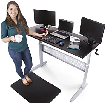 tranzendesk standing desk 55 inch long easily crank from sitting to standing black