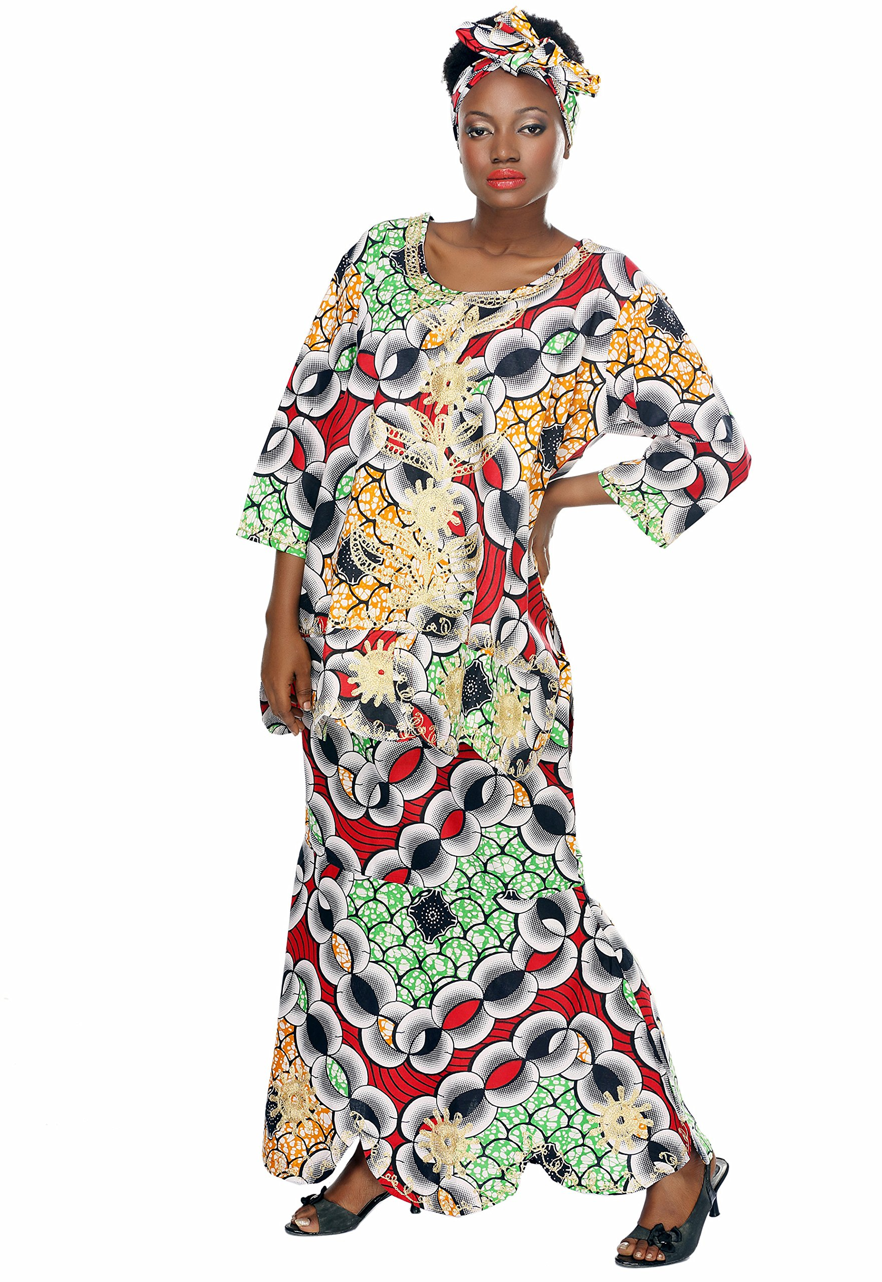African Planet Women's Swahili Inspired Green Geometric Print A-Line Skirt Set
