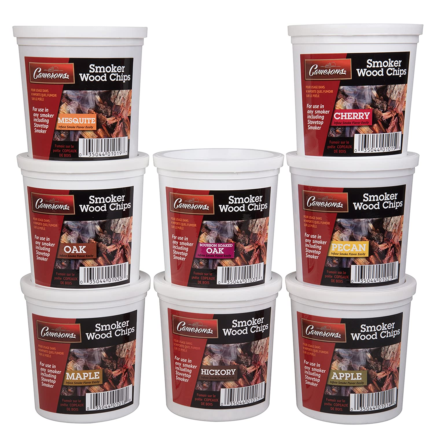 Wood Smoking Chips Variety Gift Set - Set of 8 Pints (Oak, Apple, Cherry, Pecan, Maple, Bourbon, Hickory, Mesquite) Camerons Products CAM-8P