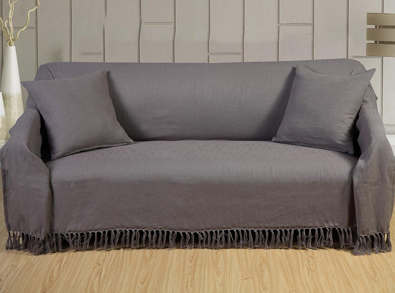 EHC Slub Throws for settees Sofa Cover King Size Bedspread Throws, 225 X  250cm - Grey