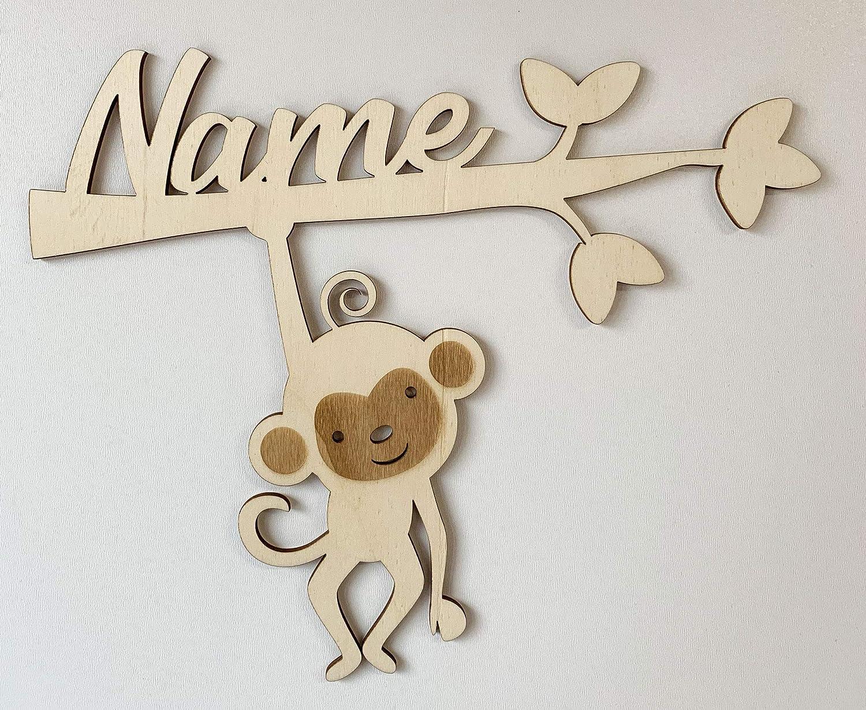 DRYSSON BabyAffe personalisiert mit Namen Geschenk zur Geburt Kinderzimmer Deko
