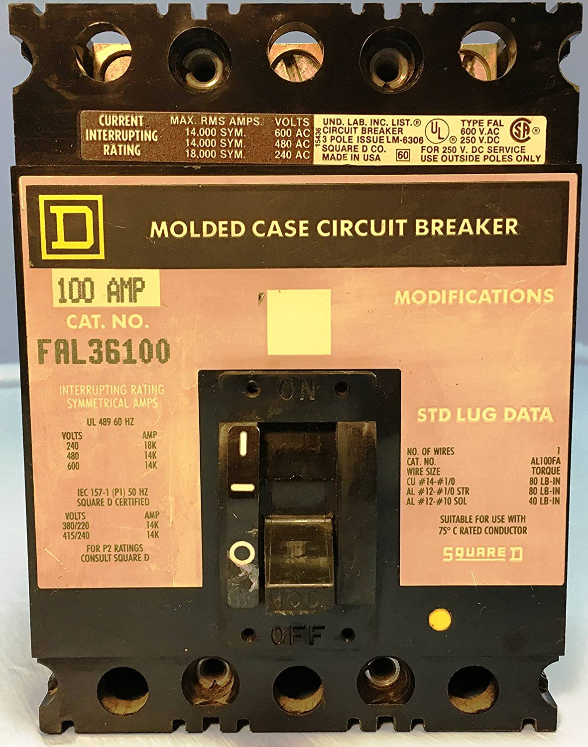Square D Fal36100 Circuit Breaker Used Industrial Ac Wiring Scientific
