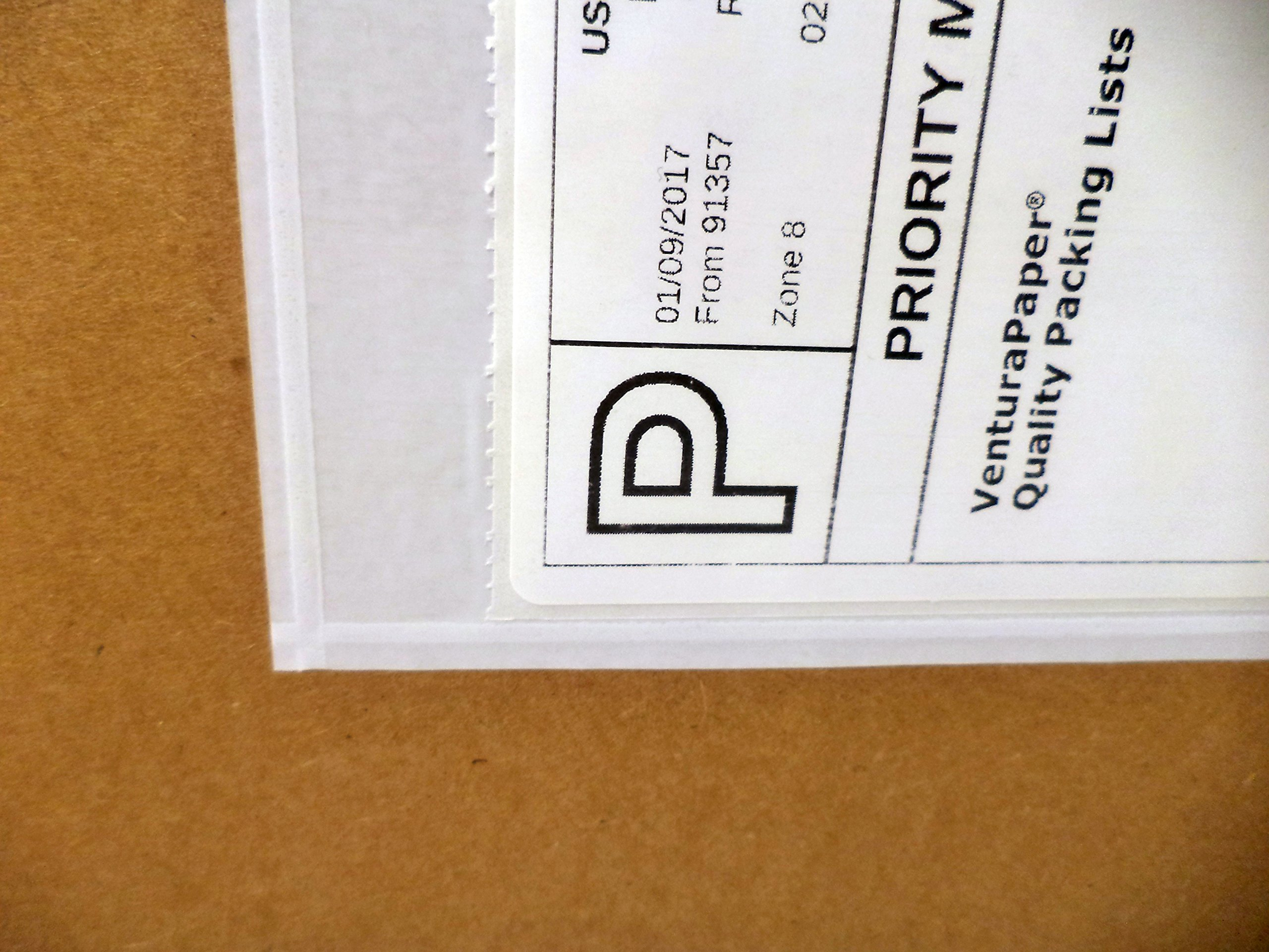 Ventura Paper 7.5'' x 5.5'' Clear Adhesive Top Loading Packing List / Shipping Label Envelopes (300 Pieces)