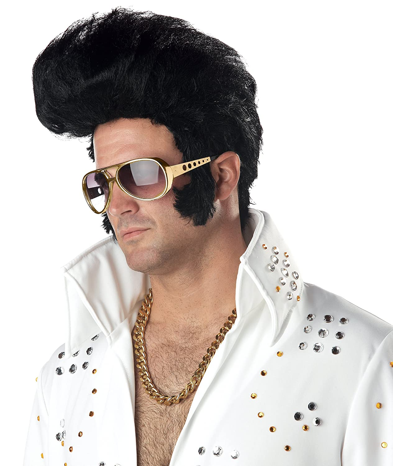Deluxe Rock N Roll Elvis Wig Mens Fancy Dress 1950s Celebrity Costume Accessory (disfraz): Amazon.es: Juguetes y juegos