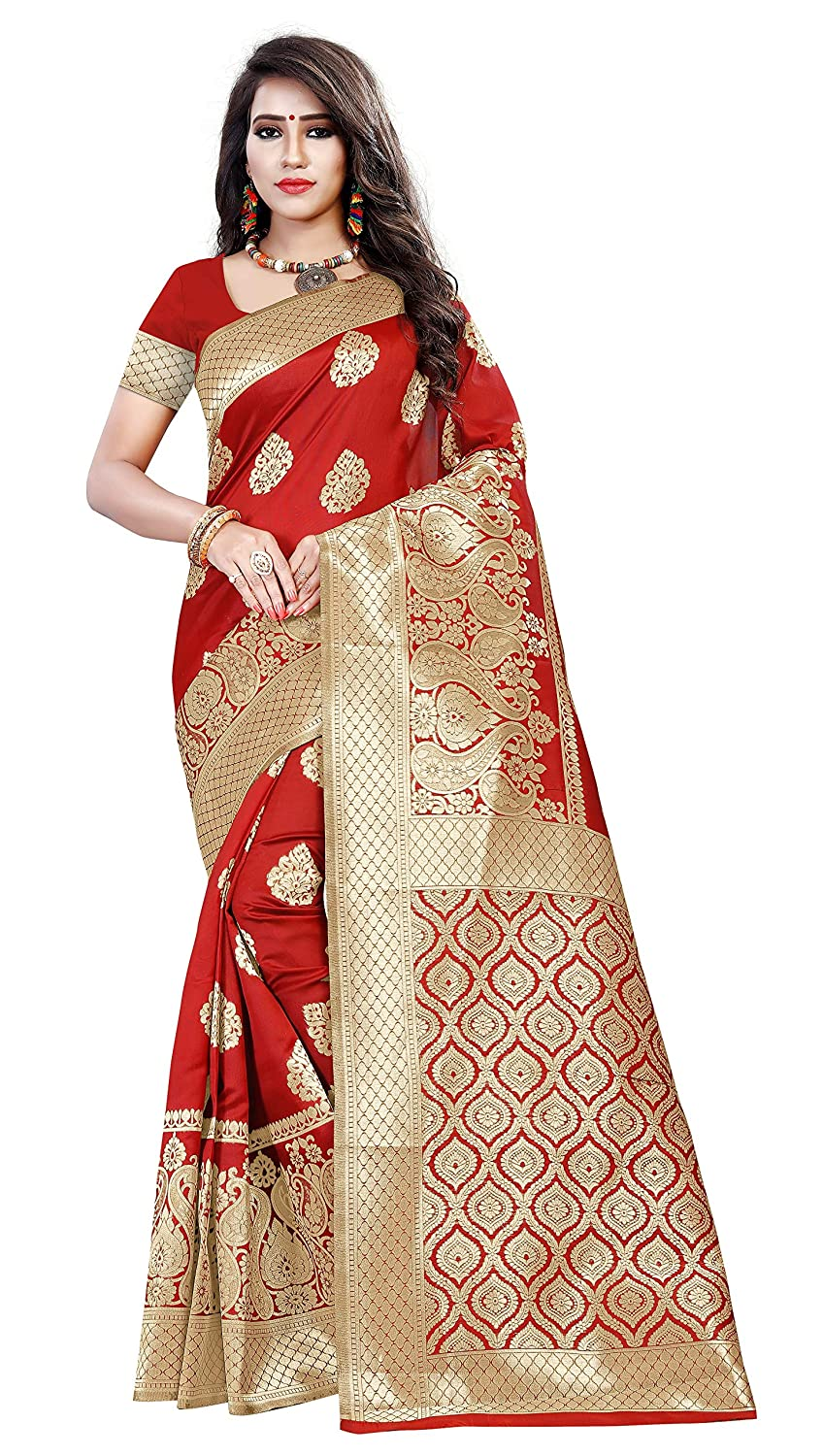 Red Color Banarasi Silk Saree With Unstitched Blouse