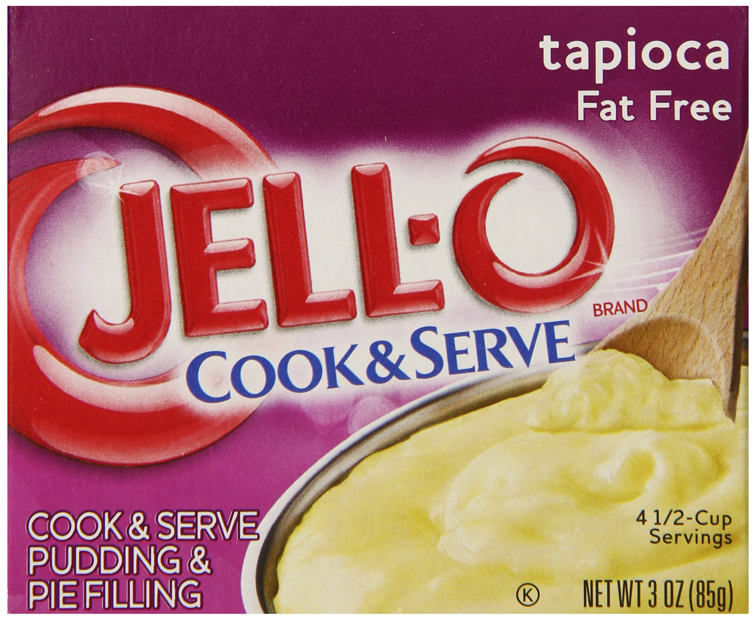 JELL-O Fat Free Tapioca Pudding & Pie Filling Mix (3 oz Boxes, Pack of 24) by Jell-O
