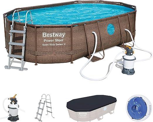 Bestway Power Steel Swim Vista Series Frame Pool Set Completo Ovalado con Filtro de Arena, Escalera de Seguridad y Lona 488 x 305 x 107 cm: Amazon.es: Jardín