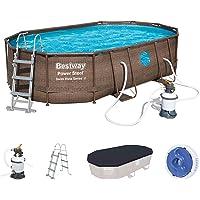 Bestway Power Steel Swim Vista Series Frame Pool Set Completo Ovalado con Filtro de Arena, Escalera de Seguridad y Lona…