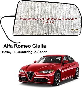 YelloPro Auto Side Window Rear Seat Sunshades Custom Fit for 2017 2018 2019 2020 Alfa Romeo Giulia Base, Ti, Quadrifoglio Sedan, UV Reflector Sun Protection Accessories (Set of 2)
