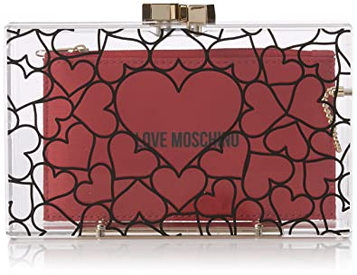 11115a8c27 Amazon.com: LOVE Moschino Women's Clear Evening Clutch Clear/Red One ...