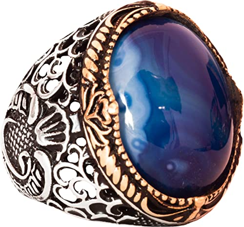 Falcon Jewelry Sterling Silver Men Ring Agate Created Stone Handmade Ring