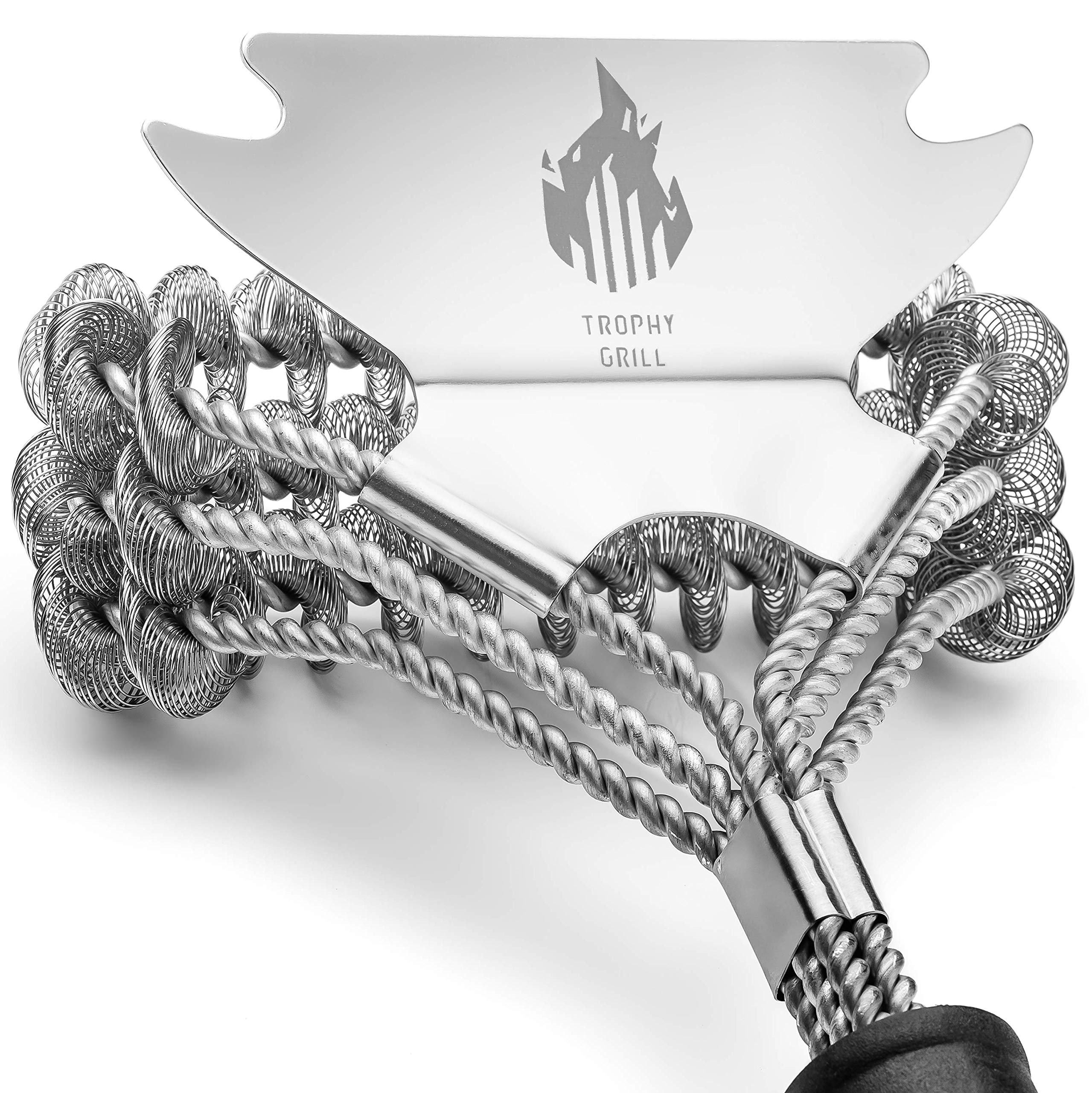 Trophy Grill Bristle Free Cleaner 100% Rust Resistant BBQ Grill Brush with Scraper - Professional 18'' Heavy Duty Stainless Steel Scrubber - an Essential Grilling Accessory by Trophy Grill