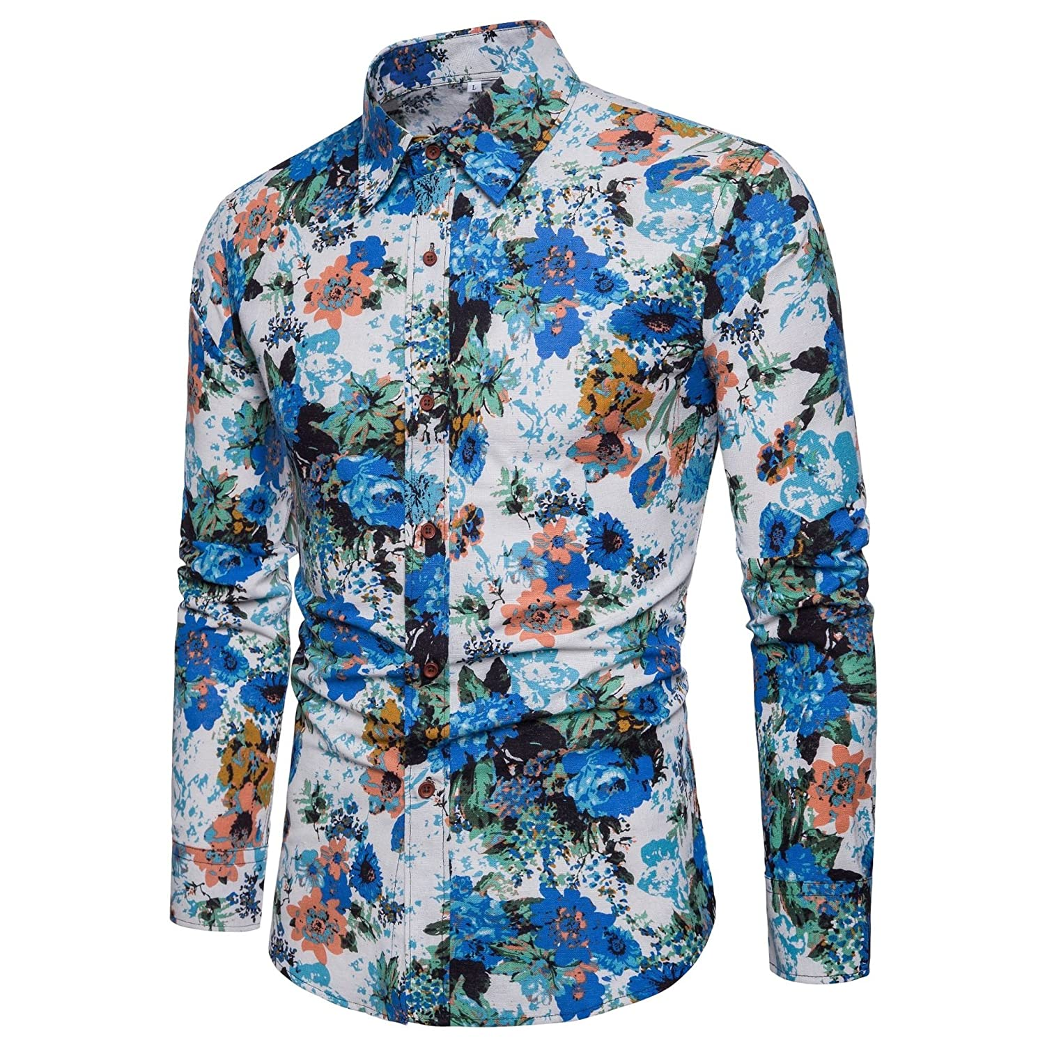 43341995fa4 Comaba Men Button-Down Dashiki Long Sleeve Floral Print Office Dress Shirts  at Amazon Men s Clothing store