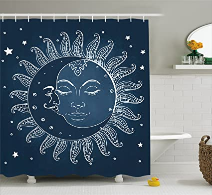 Ambesonne Sun And Moon Shower Curtain By Spiritual Celestial Theme With Crescent Midnight
