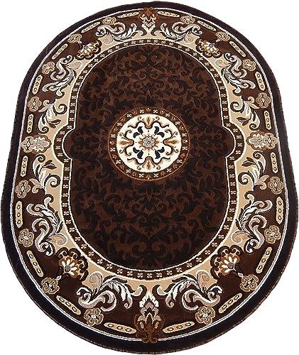 KJGRUG Persian Medallion Oval Woven 5×8 Area Rug Brown Actual Size 52 x 72