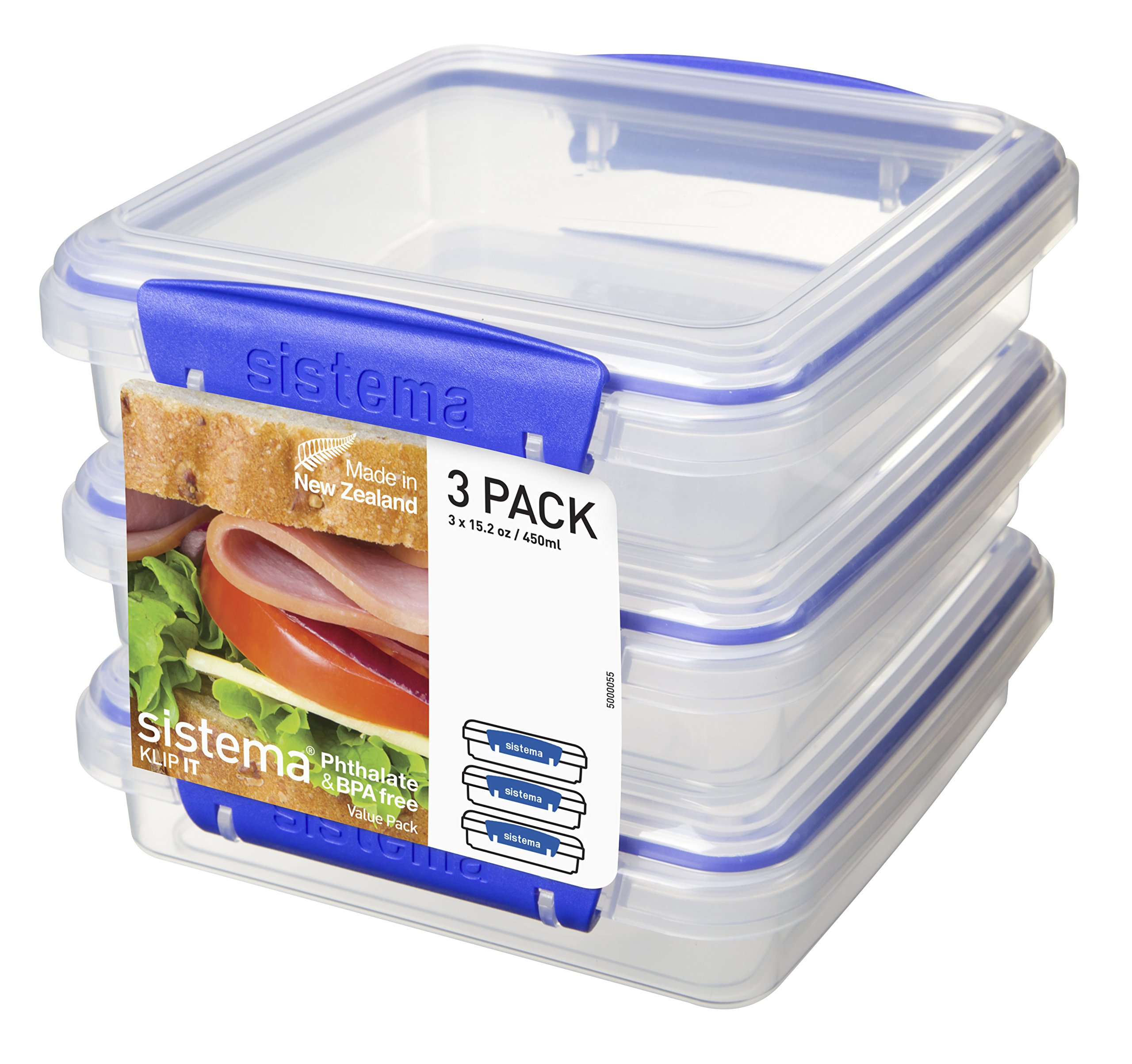 Sistema KLIP IT Collection Sandwich Box Food Storage Container, 15.2 oz./0.4 L, Clear/Blue, 3 Count by Sistema