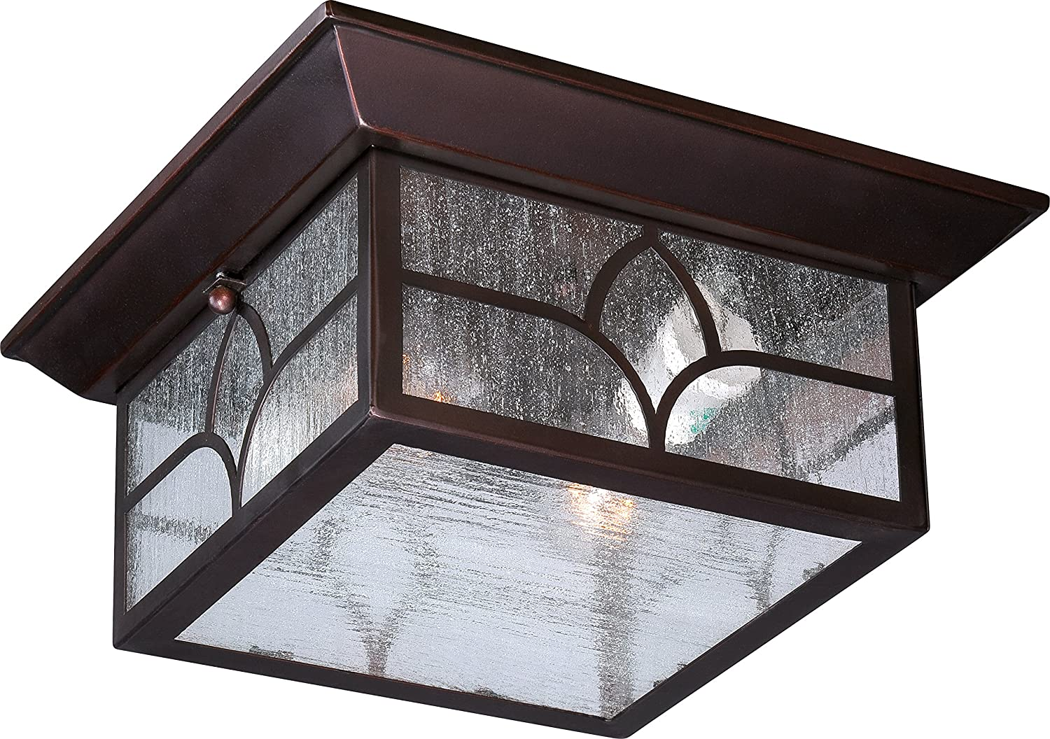 Nuvo Lighting 60/5646 Stanton Flush 2 Light 60-watt A19 Outdoor Close to Ceiling Porch and Patio Lighting with Clear Seeded Glass, Claret Bronze by Nuvo Lighting  B00LG0X3X4