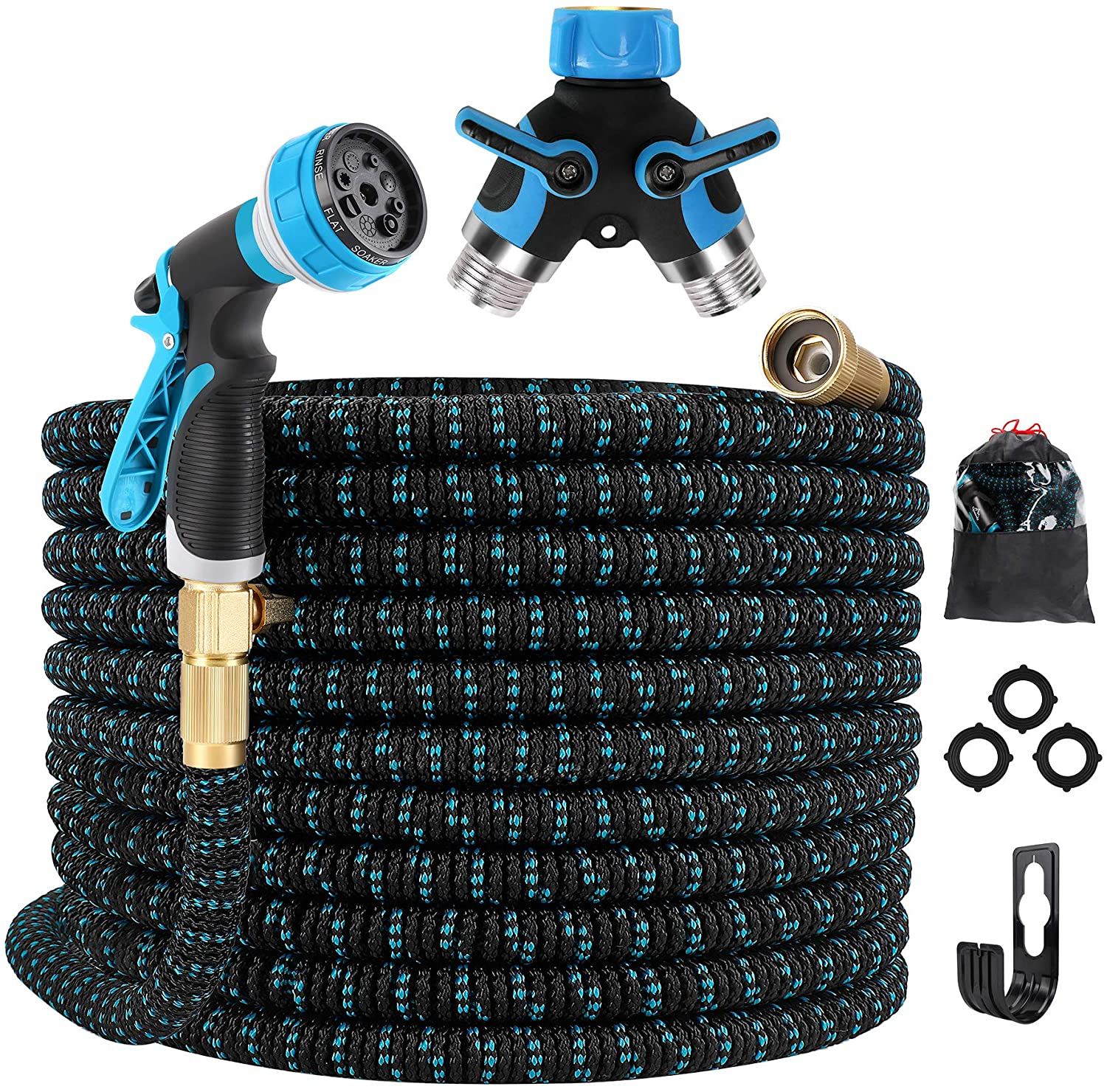 Gpeng 100ft Expandable Garden Hose , Water Hose with 8 Function Nozzle, Durable 3-Layers Latex Core with 3/4
