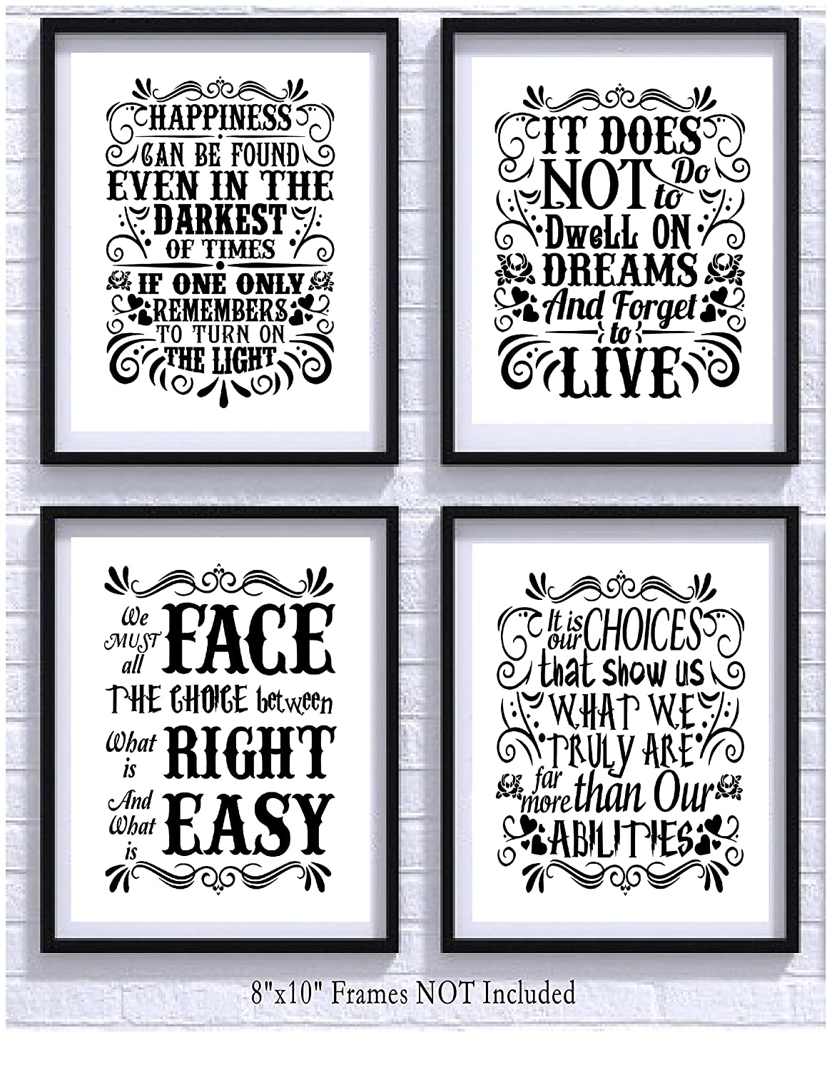 Amazon Com Harry Potter Quotes And Sayings Art Prints Set Of Four P Os 8x10 Unframed Great Unique Inspirational Harry Potter Gift Posters Prints