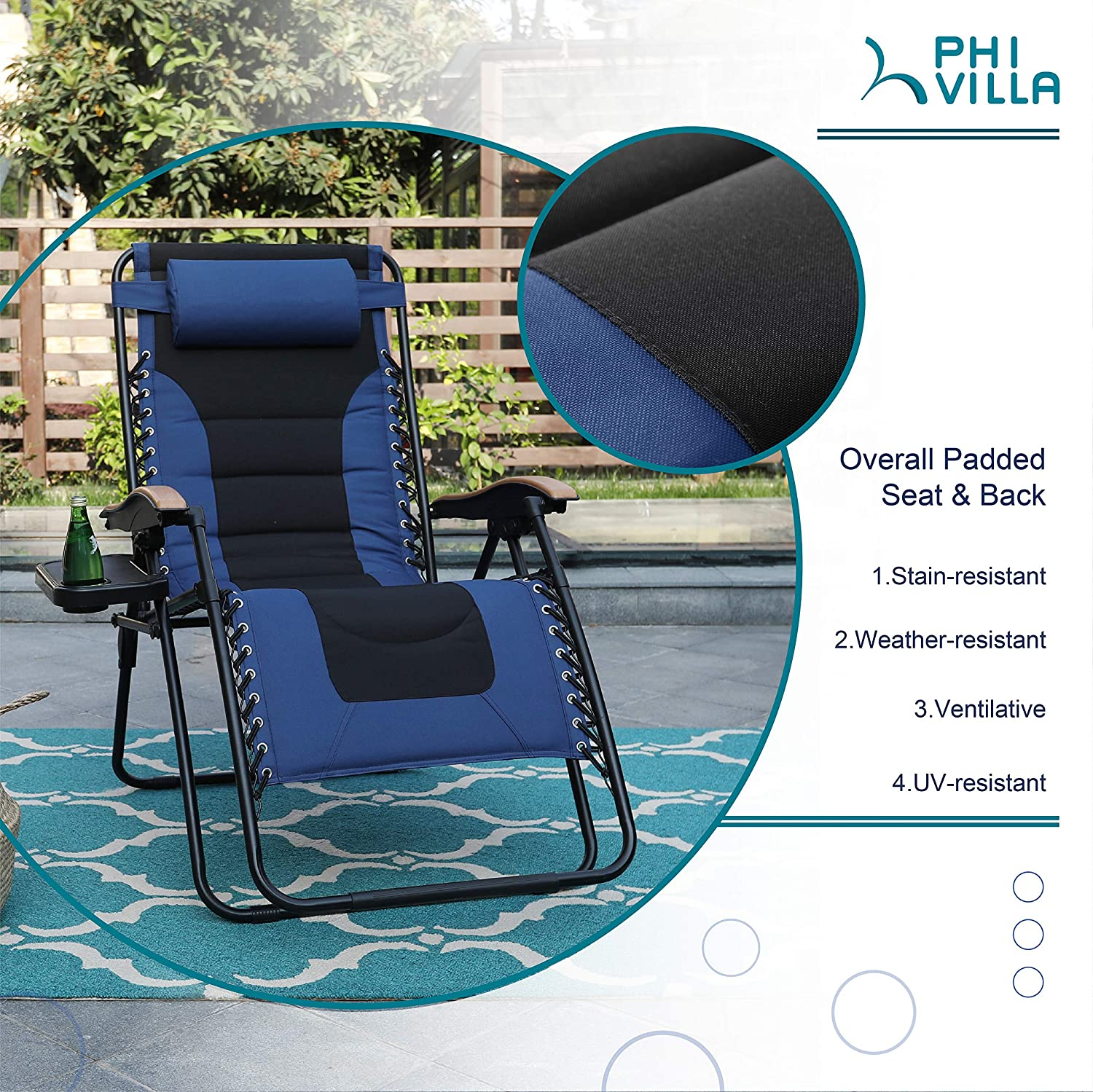 PHI VILLA XL Zero Gravity Chair Padded Recliner Oversize Lounge Chair with Free Cup Holder Blue