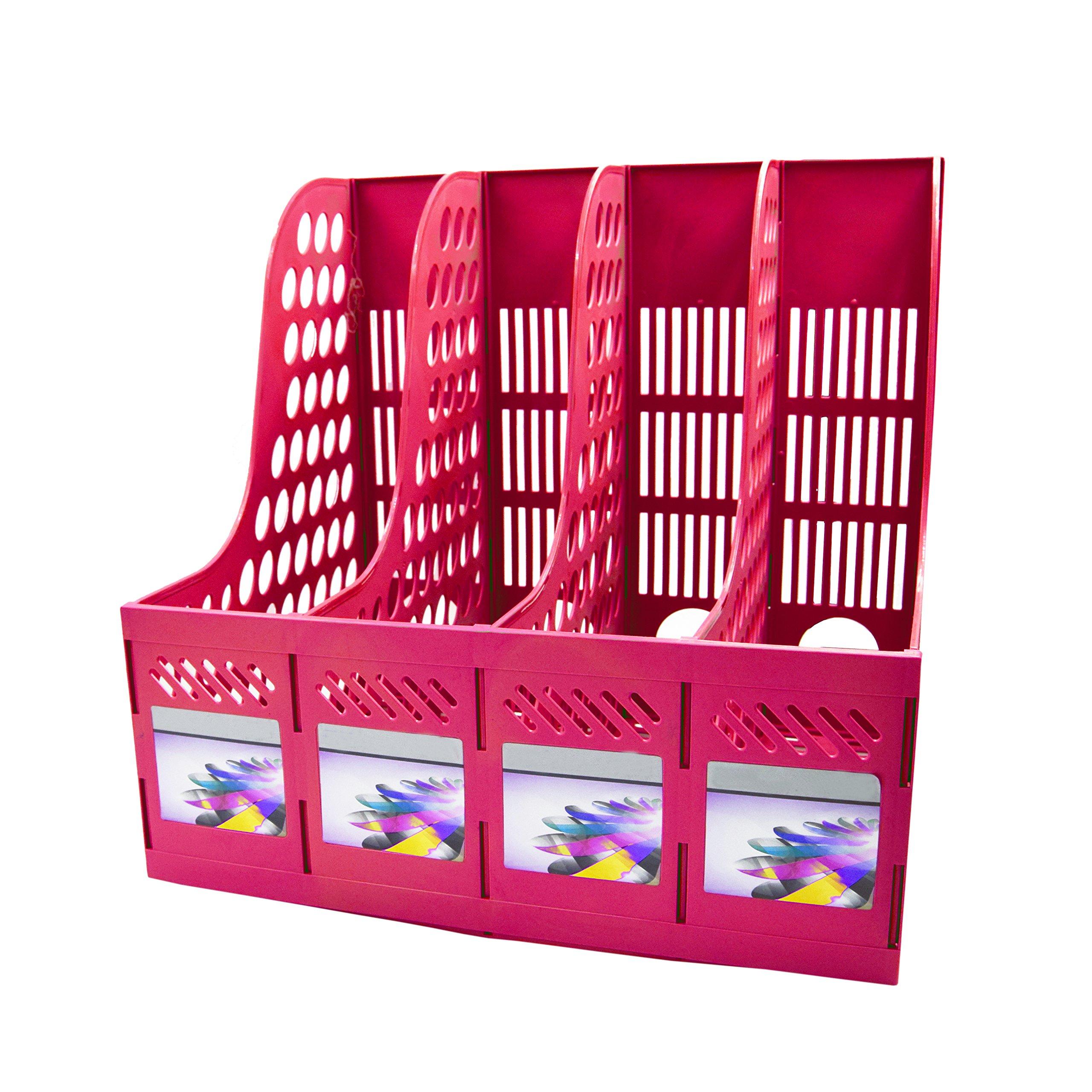 Magazine File Holder,SAYEEC Sturdy Desktop Quadruplicate Magazine Literature Plastic Holders Frames File Dividers Document Cabinet Rack Display and Storage Organiser Box (Pink)