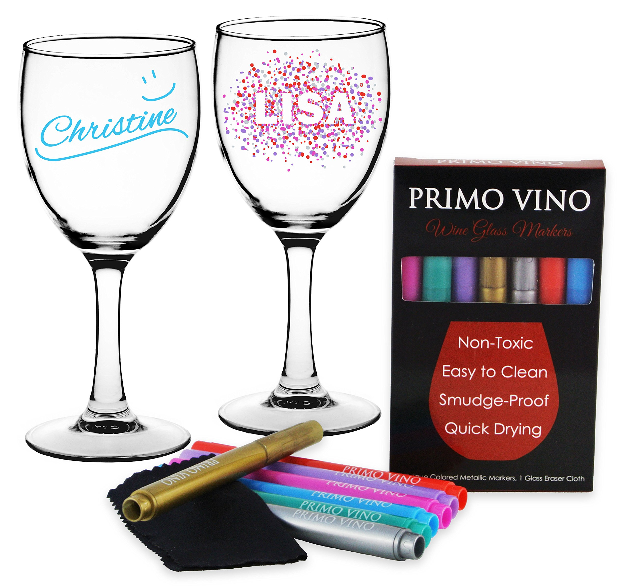(NEW) METALLIC WINE GLASS MARKERS, Set of 7 Pens with Eraser Cloth. Write on Glassware, Bottles and Plates. by Primo Vino