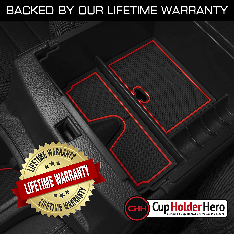 3-pc Set CupHolderHero for Ford Ranger Accessories 2019-2021 Premium Custom Interior Non-Slip Anti Dust Center Console Organizer Tray with Liner Mats White Trim