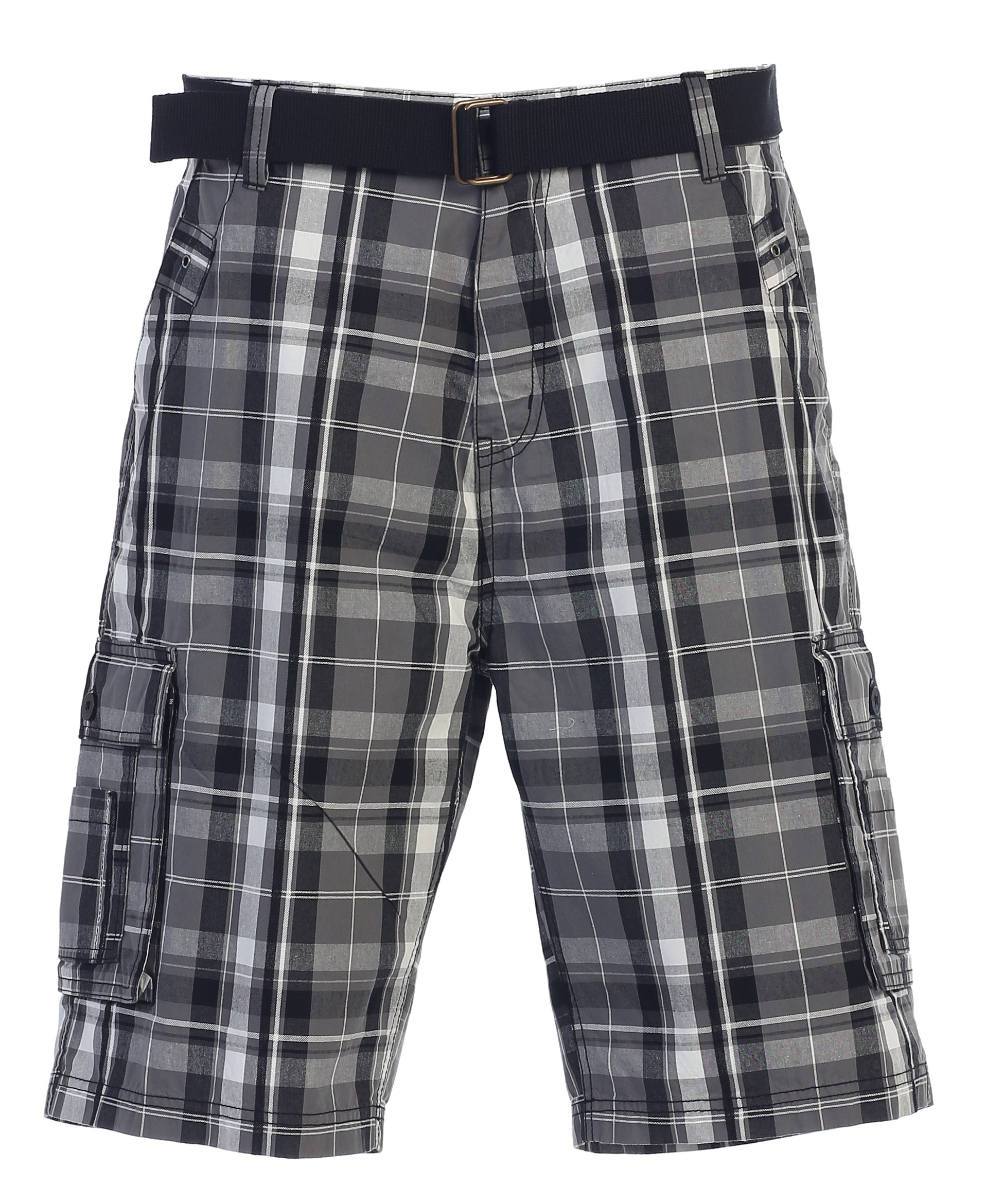 Gioberti Men's Plaid Belted Cargo Shorts, Gray/Charcoal, Size 34