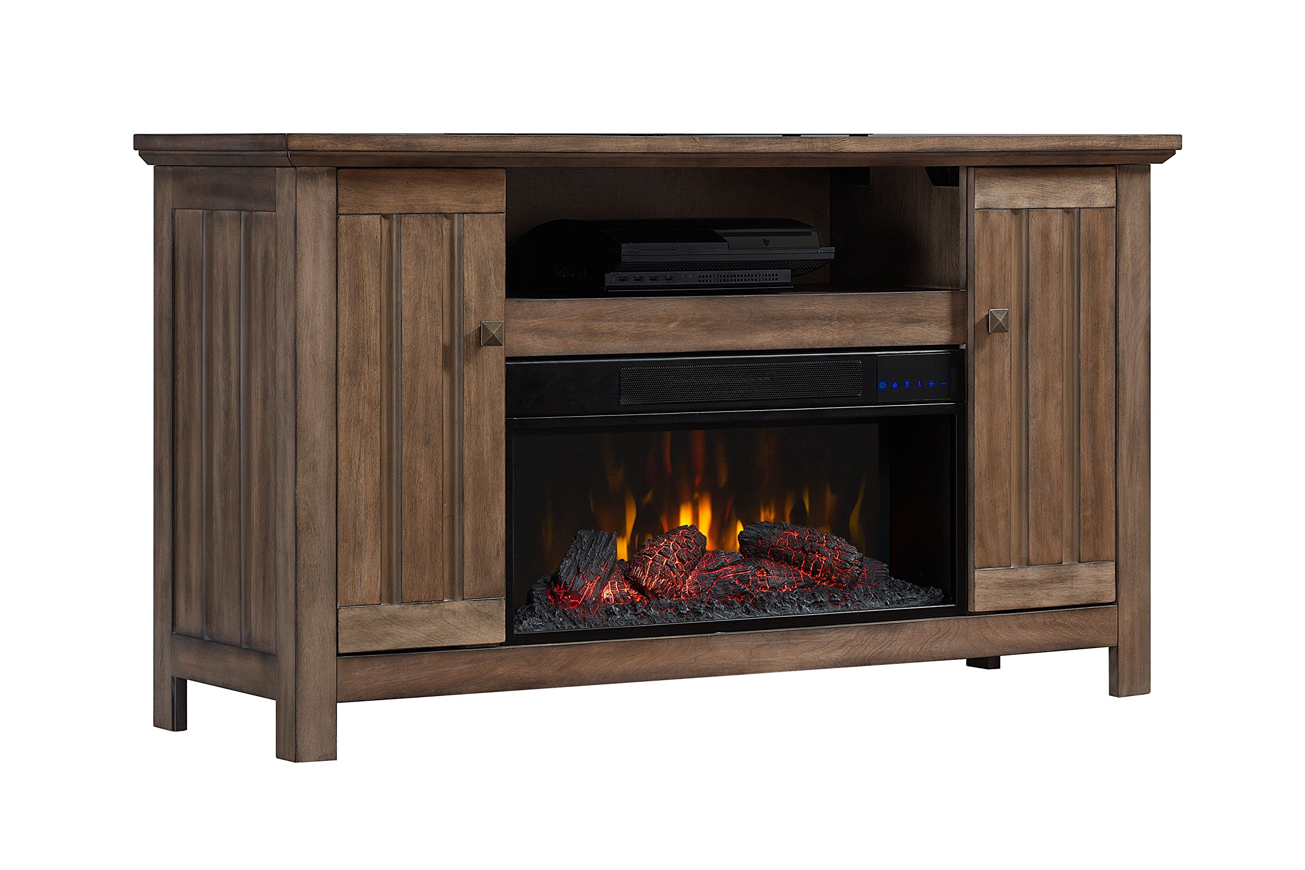 BoldFlame Fluligna 54'' Media Console Electric Fireplace with Storage Cabinets and Remote Control, Amber Barnwood by BoldFlame