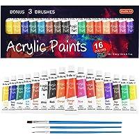 Shuttle Art 16 x12ml Tubes Acrylic Paint Set With 3 Brushes