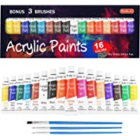 Acrylic Paint Set, Shuttle Art 16 x12ml Tubes Artist Quality Non Toxic Rich Pigments Colors Great for Kids Adults…