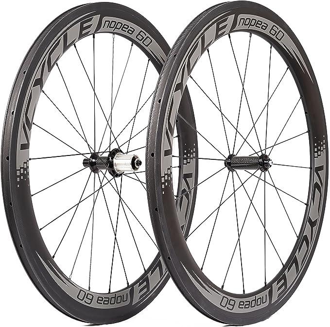 VCYCLE Nopea Carbono Cubierta Ruedas 60mm 700c Ruedas de Bicicleta ...
