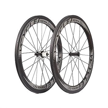 VCYCLE Nopea Carbono Cubierta Ruedas 60mm 700c Ruedas de Bicicleta de Carretera Remachador Tirón Recto Shimano o Sram 8/9/10/11 Velocidad: Amazon.es: ...