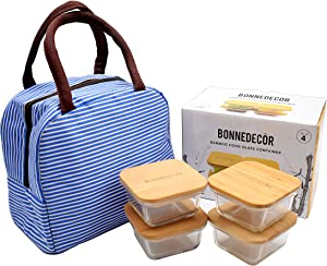 Bamboo Food Containers - Glass Containers with Bamboo Lids Most Eco-Friendly Food Storage Small Boxes | Perfect for Meal Prep Baking Lunch | Bpa-Free Kitchen Items - Set Of 4 (Mini)