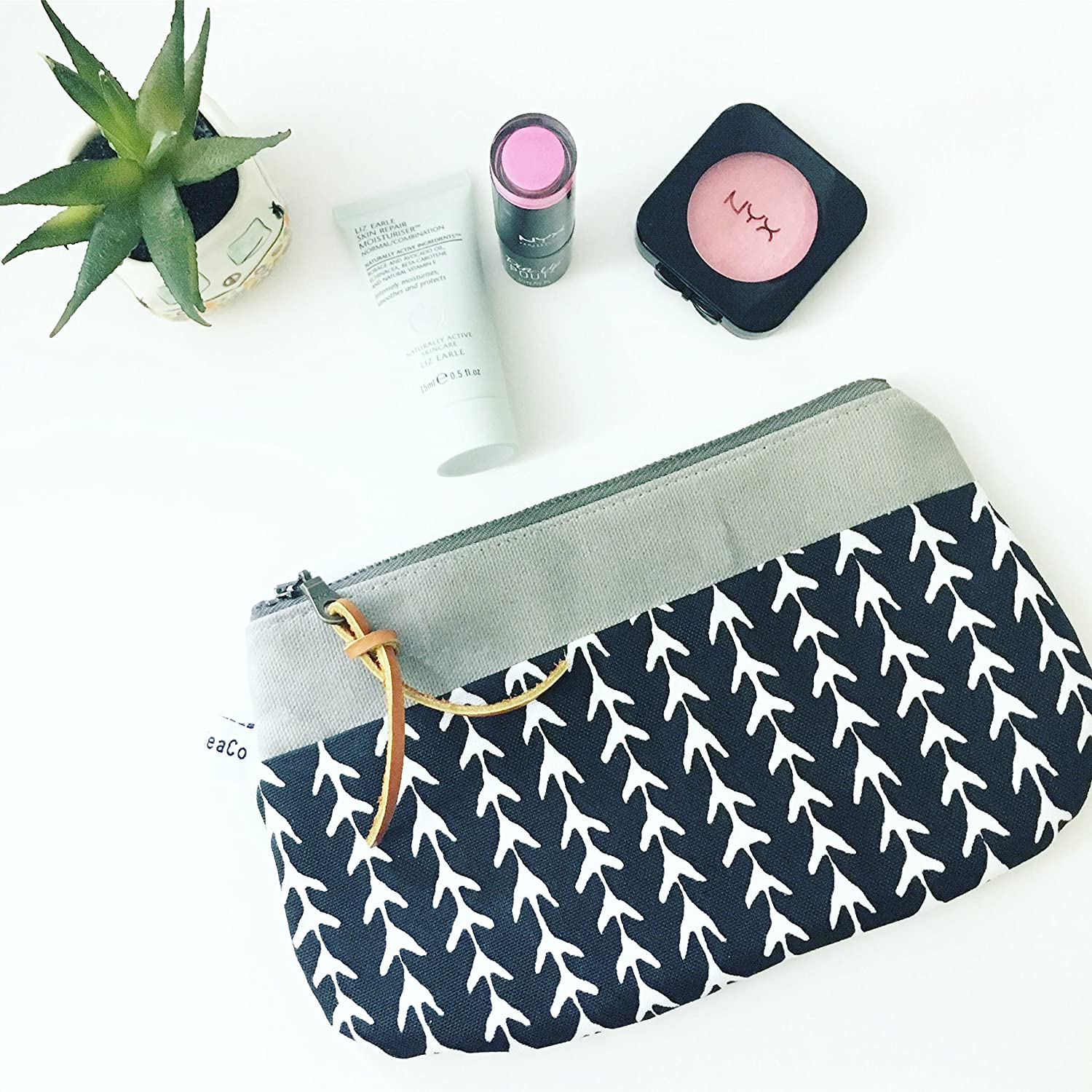 Makeup Zipper Pouch in Monochrome Canvas